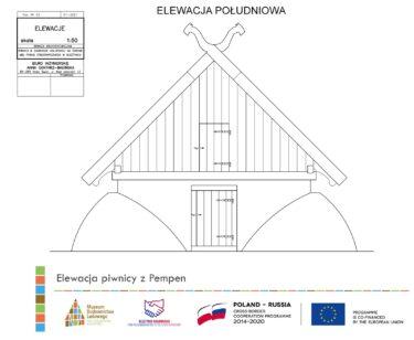 Rysunek techniczny Elewacji piwnicy z Pempen.
