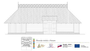 Rysunek techniczny Elewacji stodoły z Pempen.