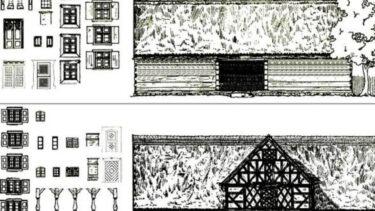 Szkic konstrukcji budowlanej chałupy.