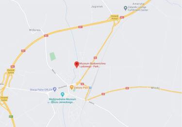 Mapa dojazdowa z lokalizacją Muzeum Budownictwa Ludowego - Park Etnograficzny.