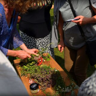 Prezentacje o kompozycji i właściwościach ziół z bukietów na Matki Boskiej Zielnej – przeprowadzone przez Marzenę Siemaszko.