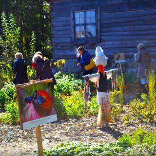 Oprowadzanie po ogrodzie ziołowym. Na zdjęciu widoczne 5 osób.