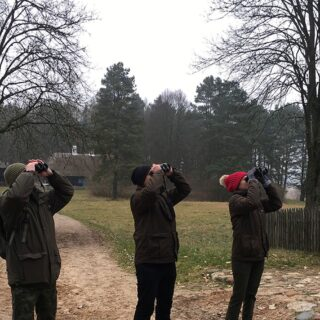 Na fotografii znajdują się 3 osoby wypatrujące ptaków podczas zimowego ptakoliczenia.